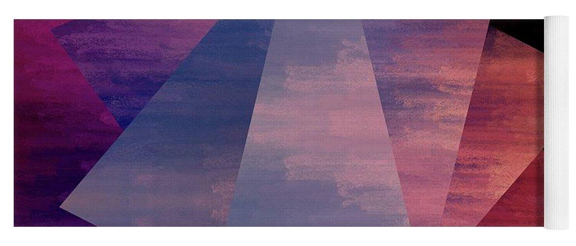 Brandi Fitzgerald Yoga Mat featuring the digital art Bold Fuchsia And Blue Triangles by Brandi Fitzgerald