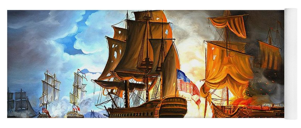 Naval Battle Yoga Mat featuring the painting Bonhomme Richard engaging The Serapis in Battle by Paul Walsh