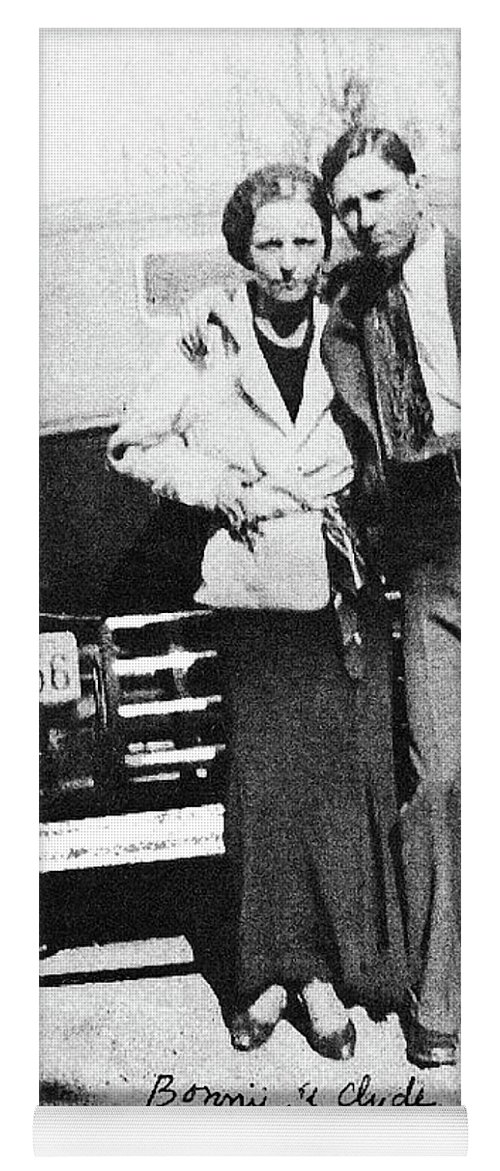 Bonnie And Clyde With A Car Clyde Stole 1933 Yoga Mat featuring the photograph Bonnie And Clyde With A Car Clyde Stole 1933 by David Lee Guss