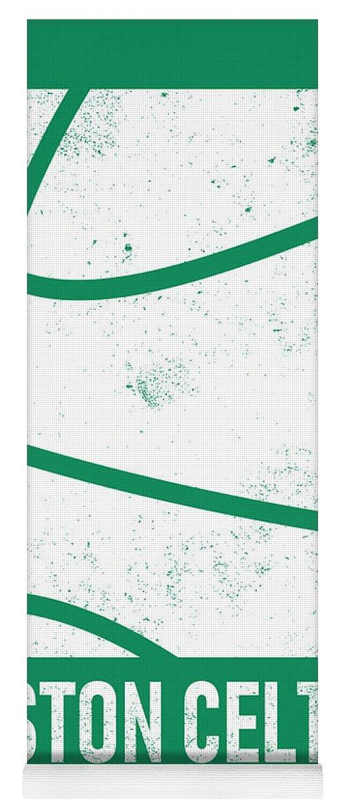 Celtics Yoga Mat featuring the mixed media Boston Celtics City Poster Art 2 by Joe Hamilton