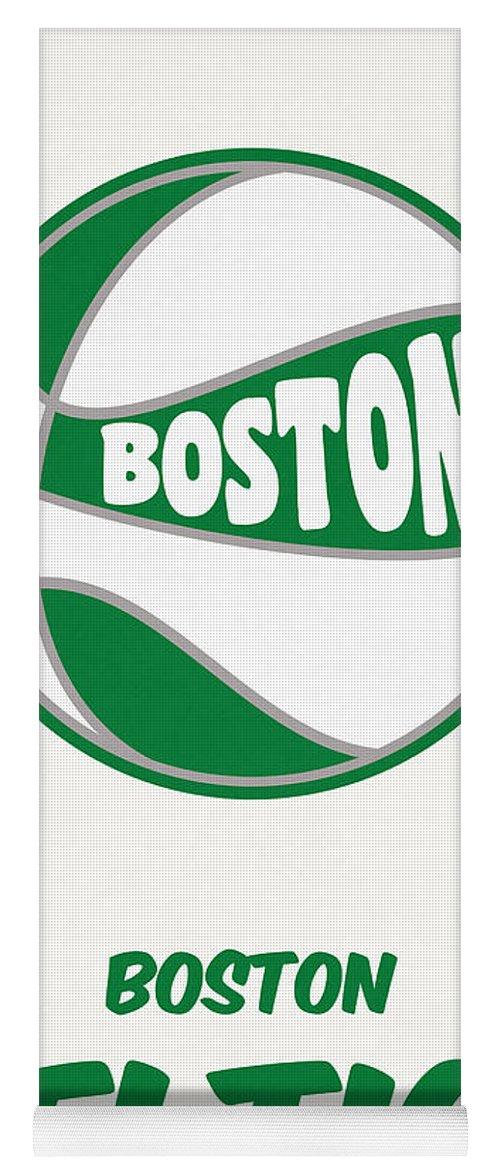 Celtics Yoga Mat featuring the mixed media Boston Celtics Vintage Basketball Art by Joe Hamilton