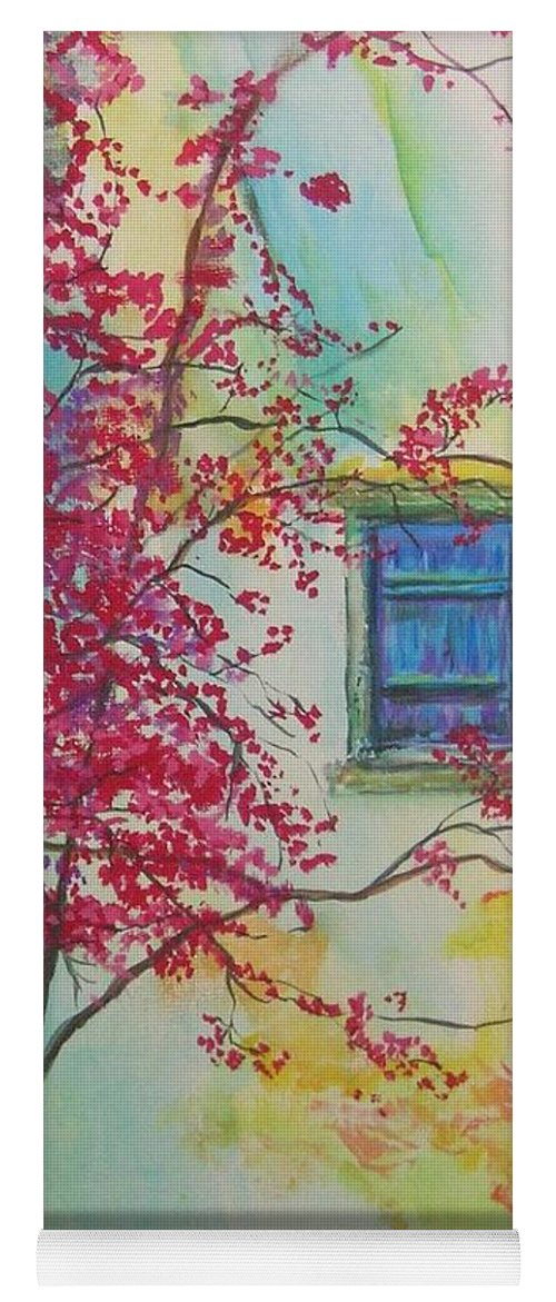Bouganvilla Yoga Mat featuring the painting Bouganvilla And Blue Shutter by Lizzy Forrester
