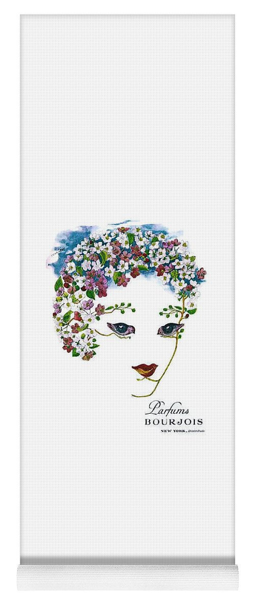 Vintage Perfume Ad Yoga Mat featuring the digital art Bourjois by ReInVintaged