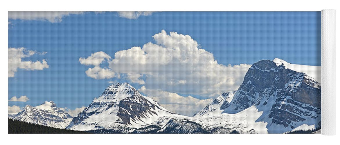 Bow Lake Yoga Mat featuring the photograph Bow Lake Vista by Ginny Barklow