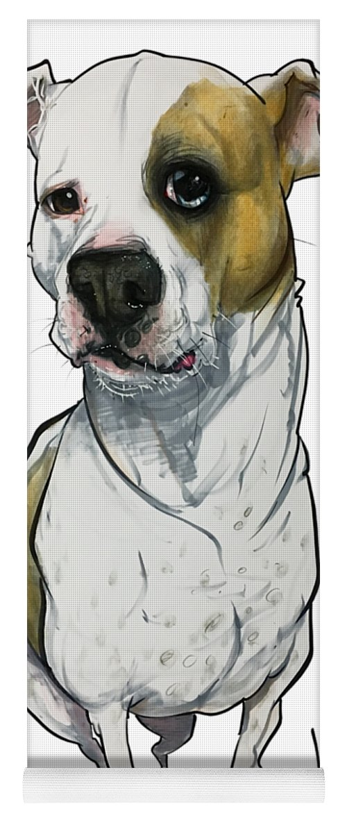 Pet Portrait Yoga Mat featuring the drawing Bowie 3374 1 by John LaFree