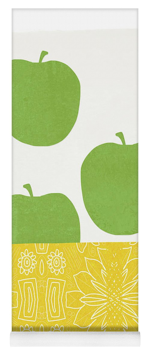 Apples Yoga Mat featuring the painting Bowl Of Green Apples- Art By Linda Woods by Linda Woods