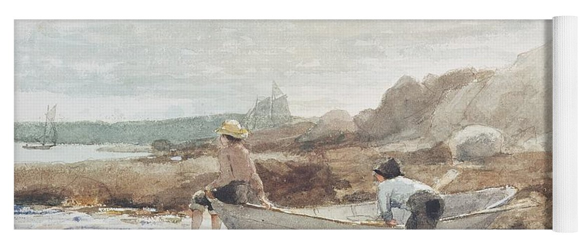 Boys On The Beach (w/c On Paper) By Winslow Homer (1836-1910) Rowing Boat; Fishing; Boy; Male; Children; Child; Playing; Summer; Coast; Coastal; Rocks; Rocky; Boat Yoga Mat featuring the painting Boys On The Beach by Winslow Homer