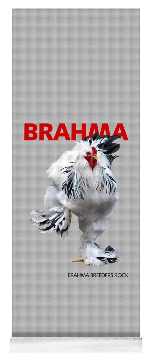 Brahma Yoga Mat featuring the digital art Brahma Breeders Rock RED by Sigrid Van Dort