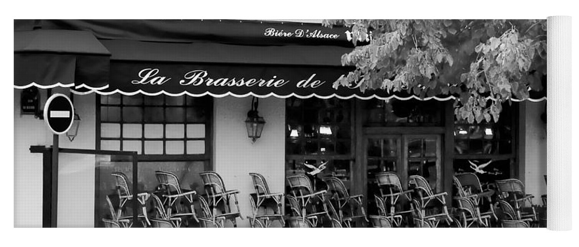 Paris Yoga Mat featuring the photograph Brasserie Early Morning by Mick Burkey