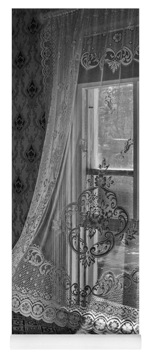 Curtain Yoga Mat featuring the photograph Breeze - Black And White by Nikolyn McDonald
