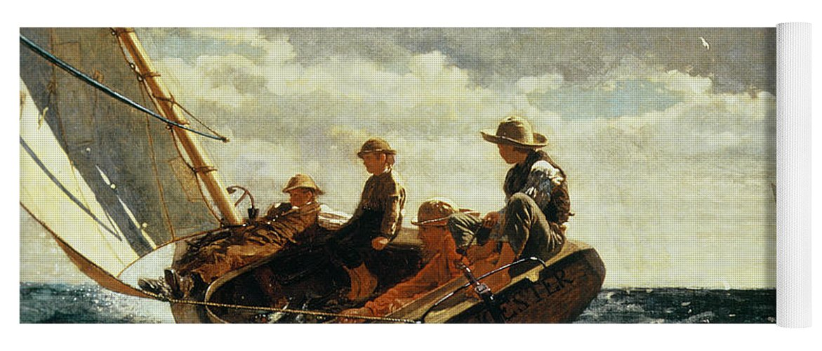 Breezing Up (a Fair Wind) 1873-76 (oil On Canvas) By Winslow Homer (1836-1910)boat Yoga Mat featuring the painting Breezing Up by Winslow Homer