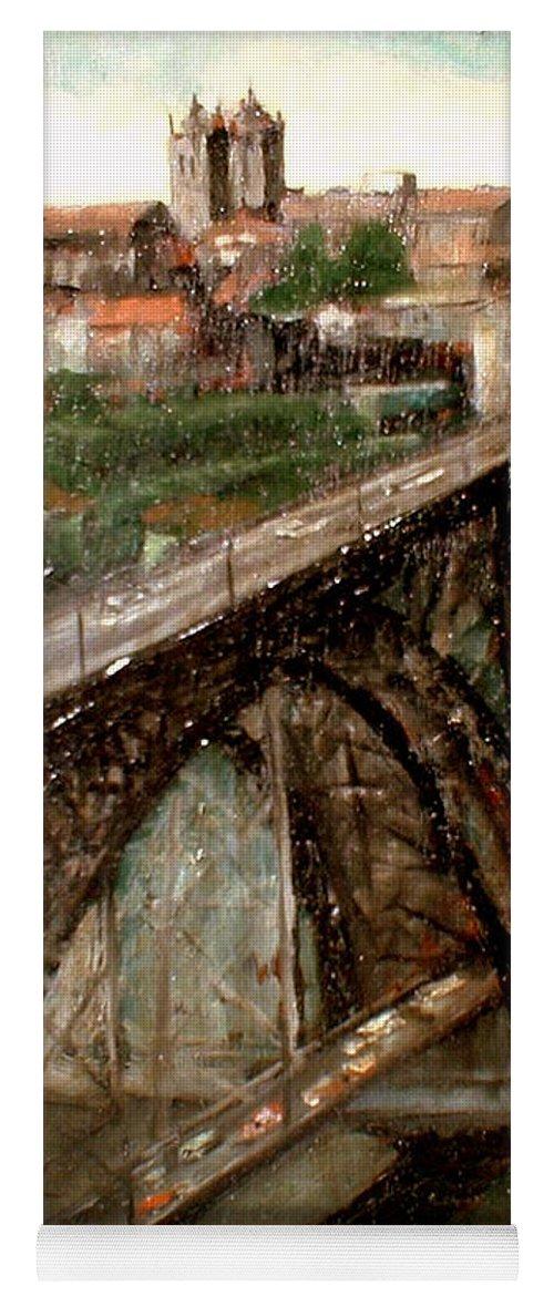 Porto Yoga Mat featuring the painting Bridge Luis I-Oporto by Tomas Castano