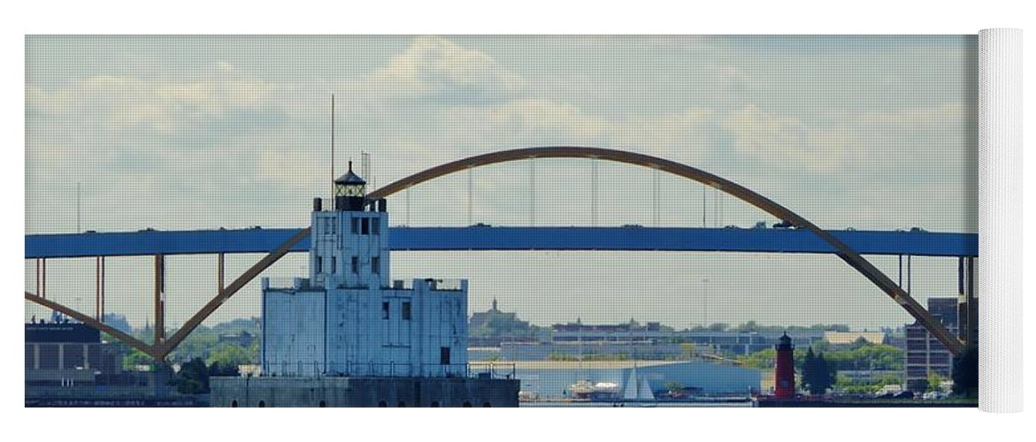 Harbor Yoga Mat featuring the photograph Bridging The Milwaukee Harbor by Red Cross