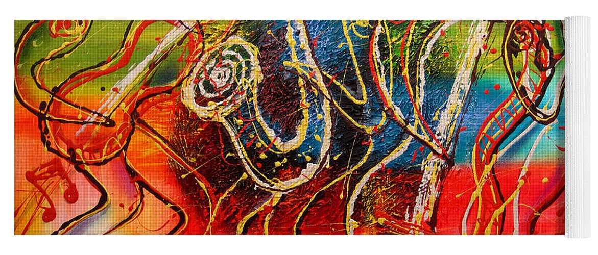 West Coast Jazz Paintings Yoga Mat featuring the painting Bright Jazz by Leon Zernitsky