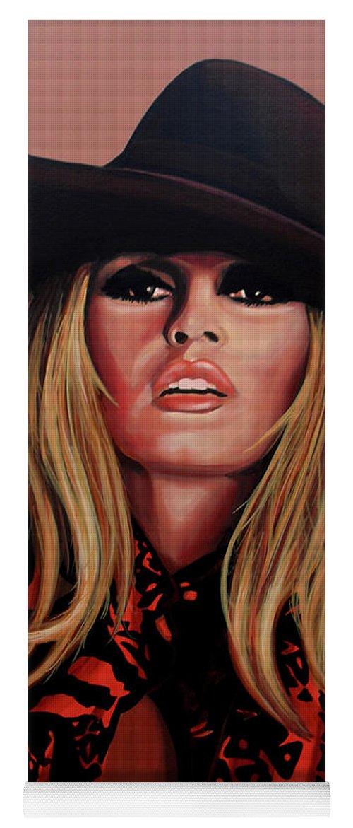 Brigitte Bardot Yoga Mat featuring the painting Brigitte Bardot Painting 1 by Paul Meijering