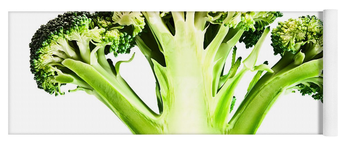 Broccoli Yoga Mat featuring the photograph Broccoli Cutaway On White by Johan Swanepoel