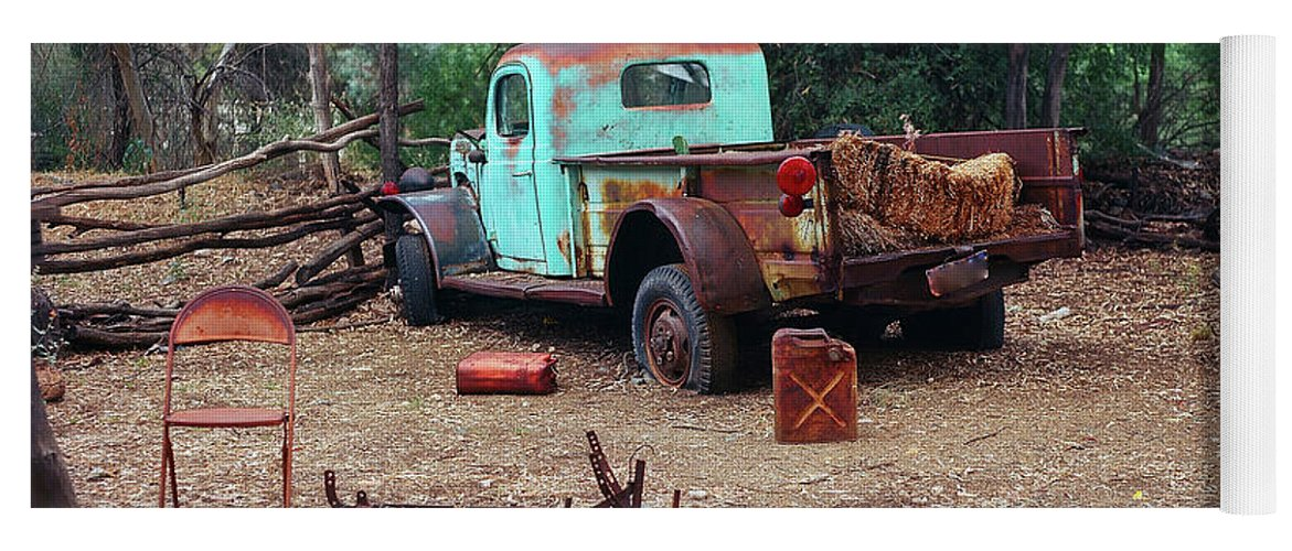 Derelict Yoga Mat featuring the photograph Broken Down Pickup Truck by Paul Moore