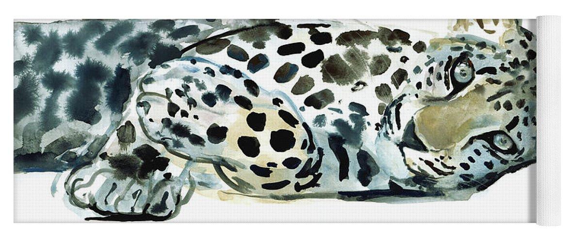 Leopard Yoga Mat featuring the painting Broken Siesta by Mark Adlington