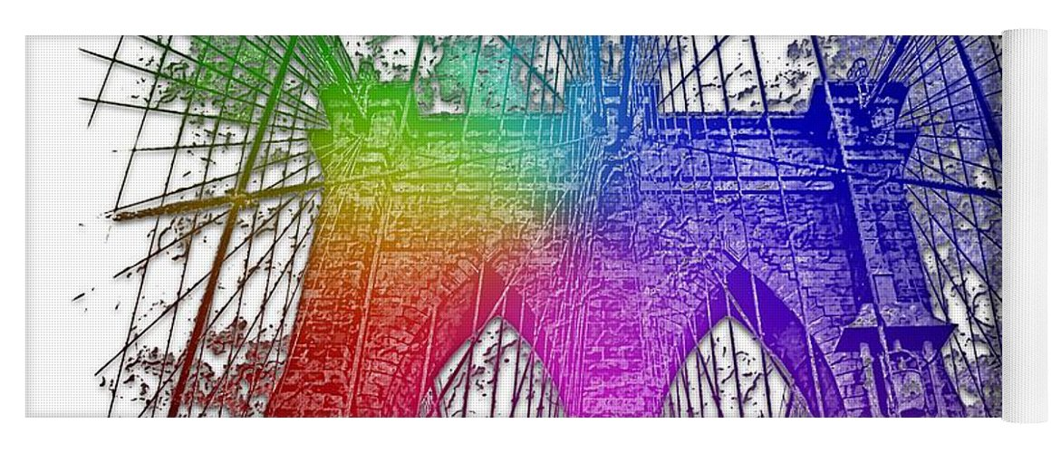 Cool Yoga Mat featuring the photograph Brooklyn Bridge Cool Rainbow 3 Dimensional by Di Designs
