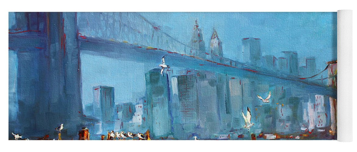Landscape Yoga Mat featuring the painting Brooklyn Bridge by Ylli Haruni