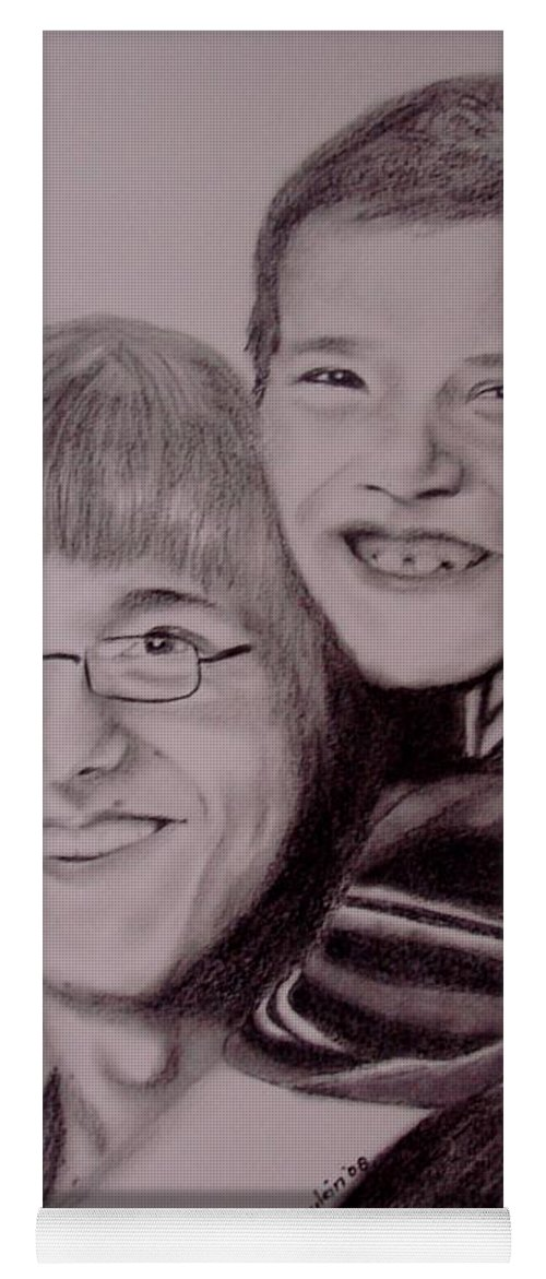 Portrait Yoga Mat featuring the drawing Brothers For Life by Glory Fraulein Wolfe