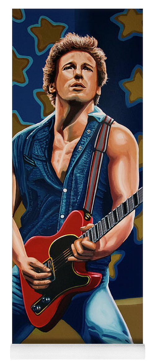 Bruce Springsteen Yoga Mat featuring the painting Bruce Springsteen The Boss Painting by Paul Meijering