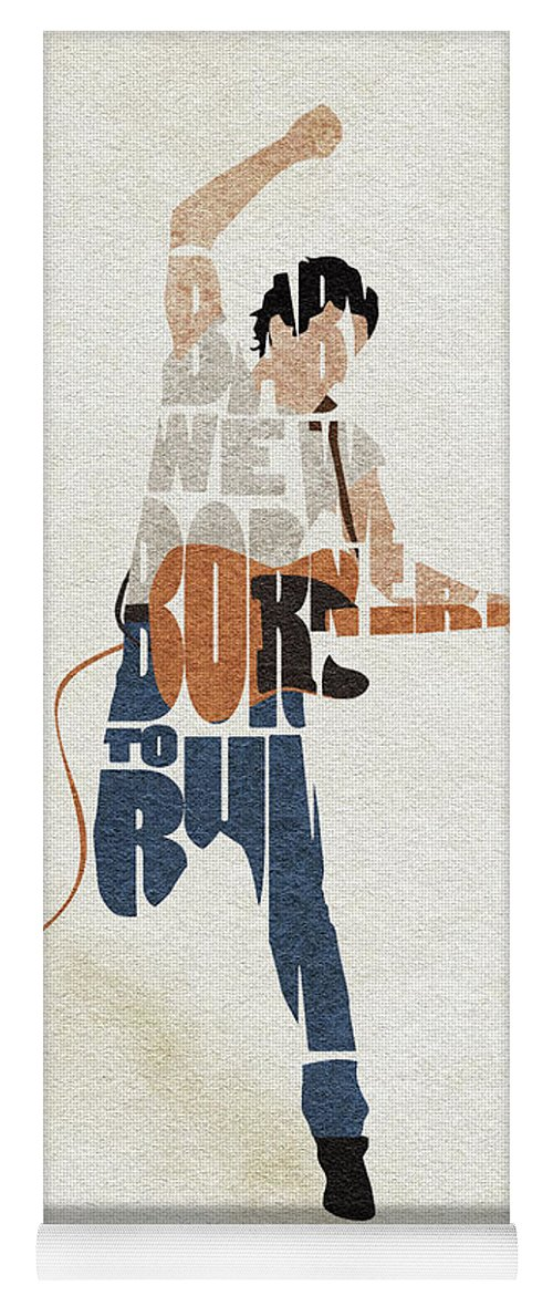 Bruce Springsteen Yoga Mat featuring the digital art Bruce Springsteen Typography Art by Inspirowl Design