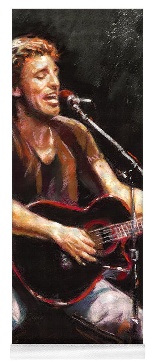 Bruce Springsteen Yoga Mat featuring the pastel Bruce Springsteen by Ylli Haruni