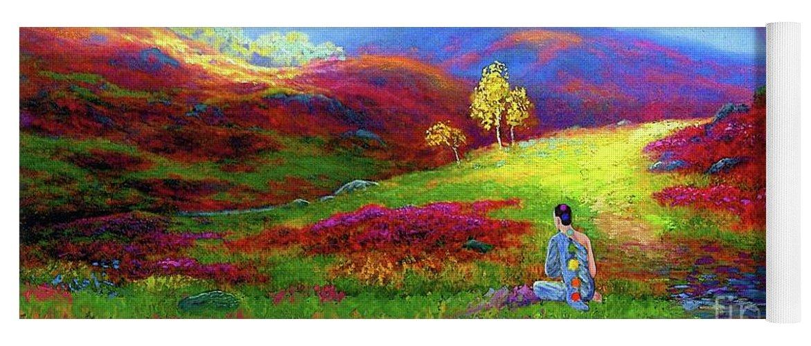 Meditation Yoga Mat featuring the painting Buddha Chakra Rainbow Meditation by Jane Small
