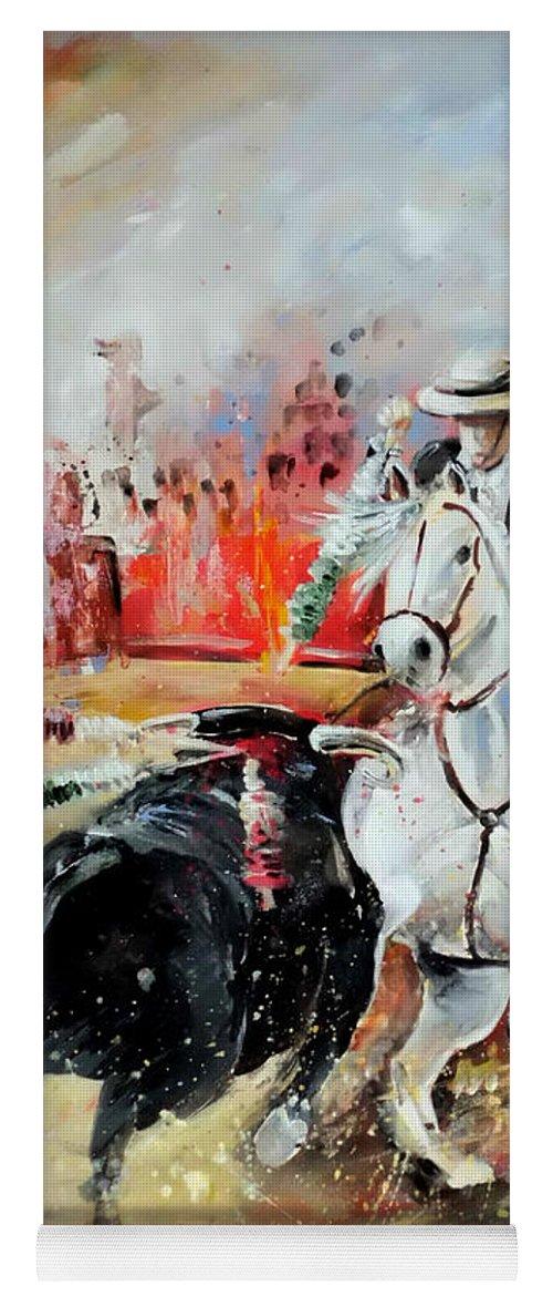 Toros Yoga Mat featuring the painting Bullfight 3 by Miki De Goodaboom