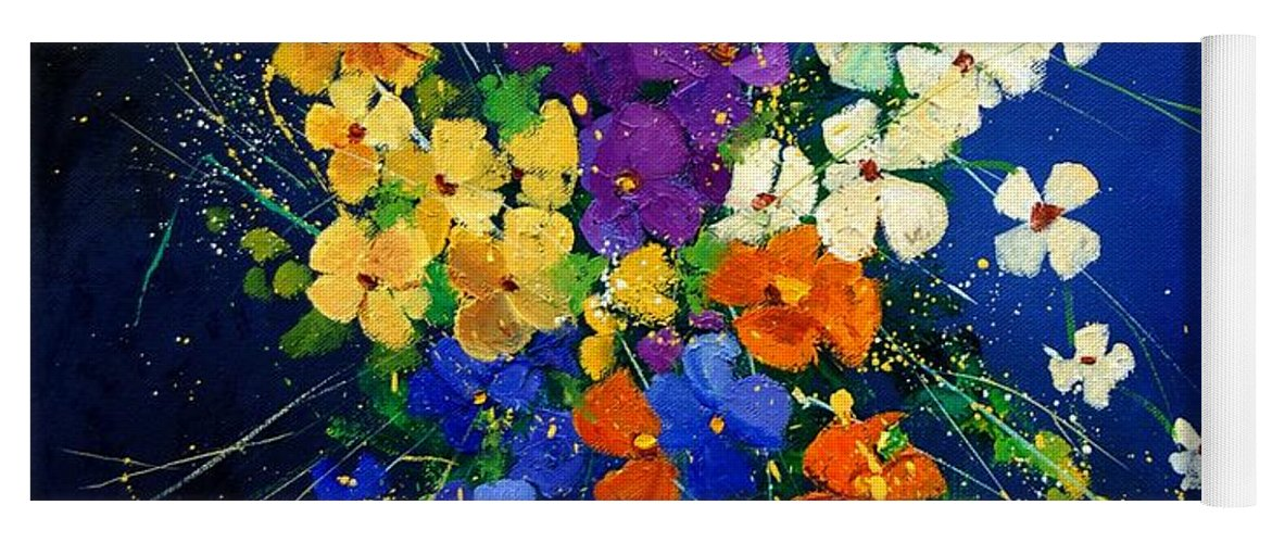 Poppies Yoga Mat featuring the print Bunch 0408 by Pol Ledent