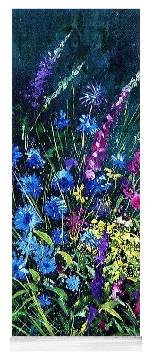 Poppies Yoga Mat featuring the painting Bunch Of Wild Flowers by Pol Ledent