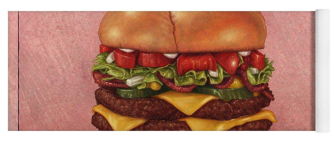 Burger Yoga Mat featuring the painting Burger by James W Johnson