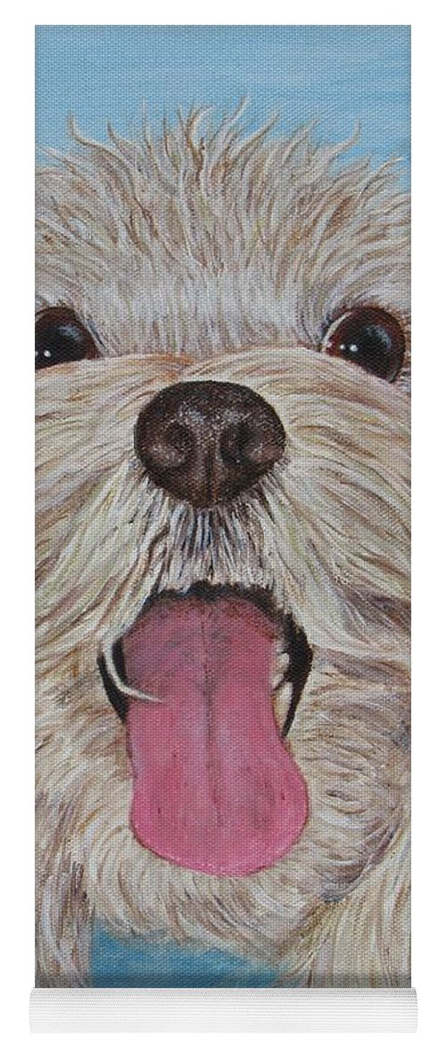 Dog Yoga Mat featuring the painting Buster by Nancy Nale