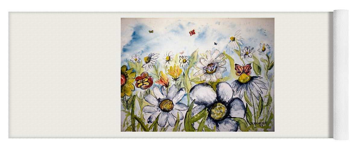 Butterfly Yoga Mat featuring the painting Butterflies and Flowers by Derek Mccrea