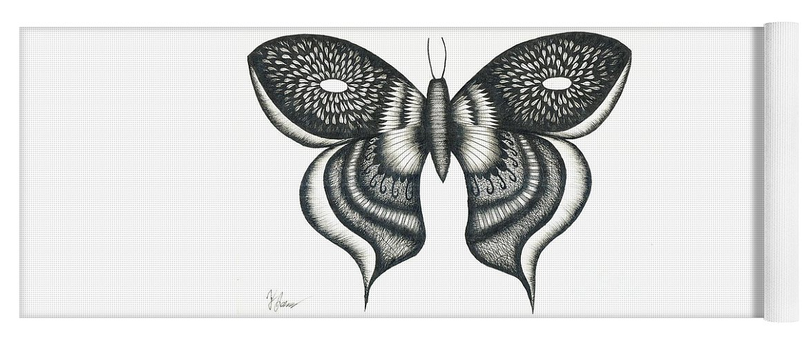 Butterfly Yoga Mat featuring the drawing Burst Butterfly Drawing by Thomas Jones