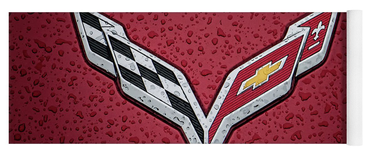 Corvette Yoga Mat featuring the digital art C7 Badge Red by Douglas Pittman