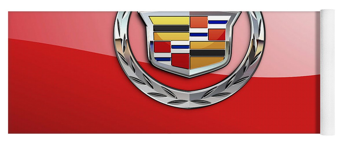 �wheels Of Fortune� Collection By Serge Averbukh Yoga Mat featuring the photograph Cadillac - 3 D Badge on Red by Serge Averbukh
