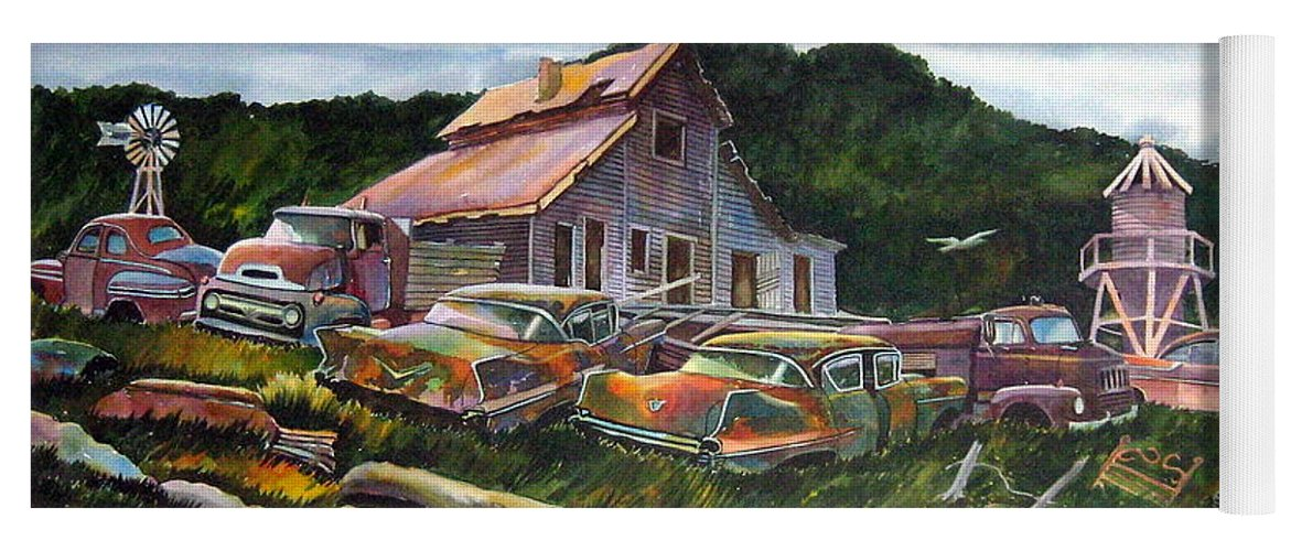 Cadillacs Yoga Mat featuring the painting Cadillac Ranch by Ron Morrison