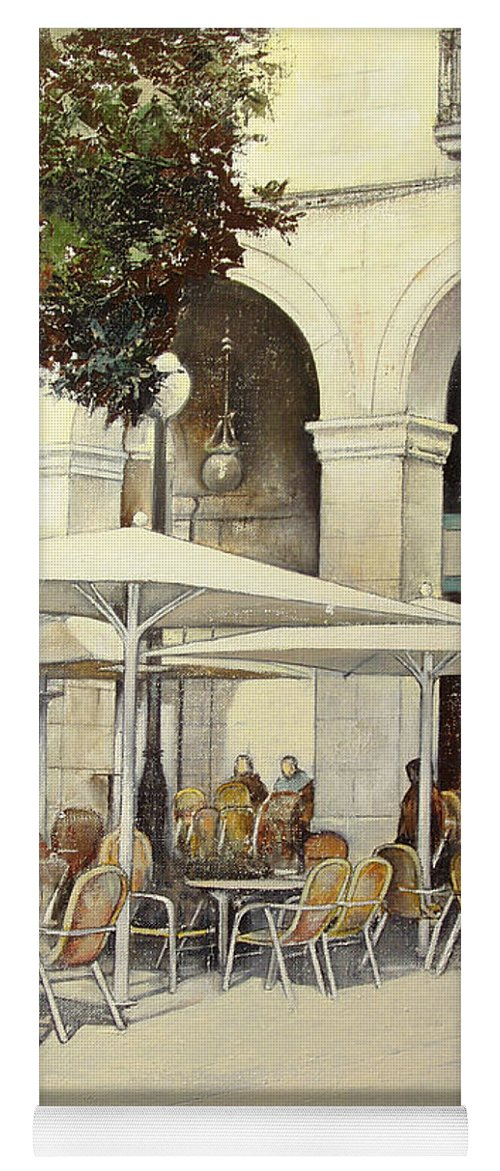 Cafe Yoga Mat featuring the painting Cafe de Pombo-Santander by Tomas Castano