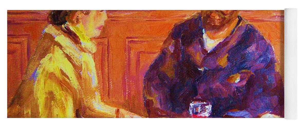 Cafes Yoga Mat featuring the painting Cafe Renoir by Carole Spandau