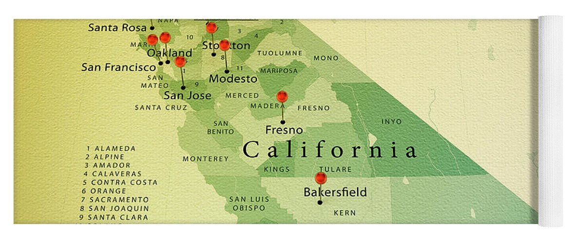 California State Map Square Cities Straight Pin Vintage Yoga Mat