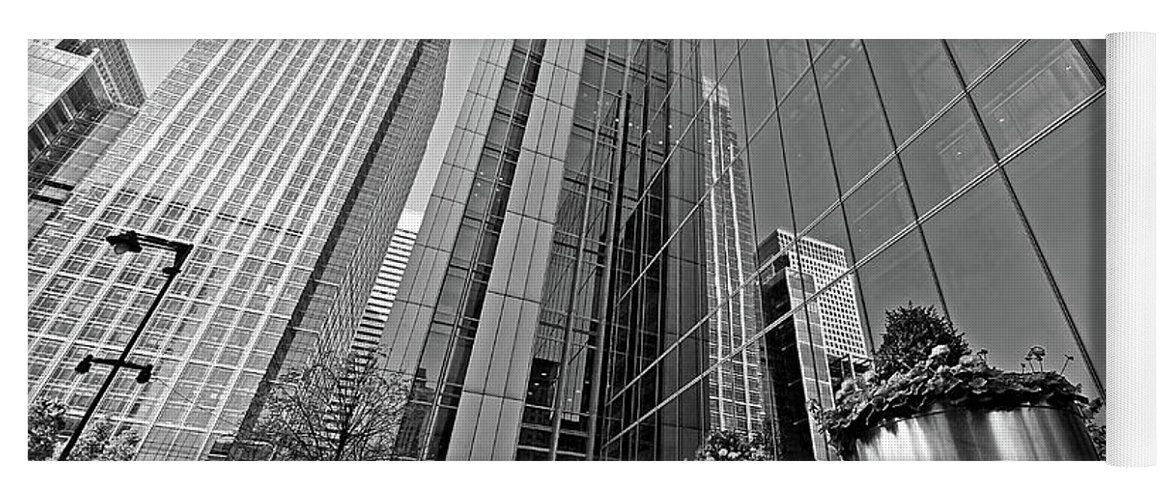 London Yoga Mat featuring the photograph Canary Wharf Financial District In Black And White by Gill Billington