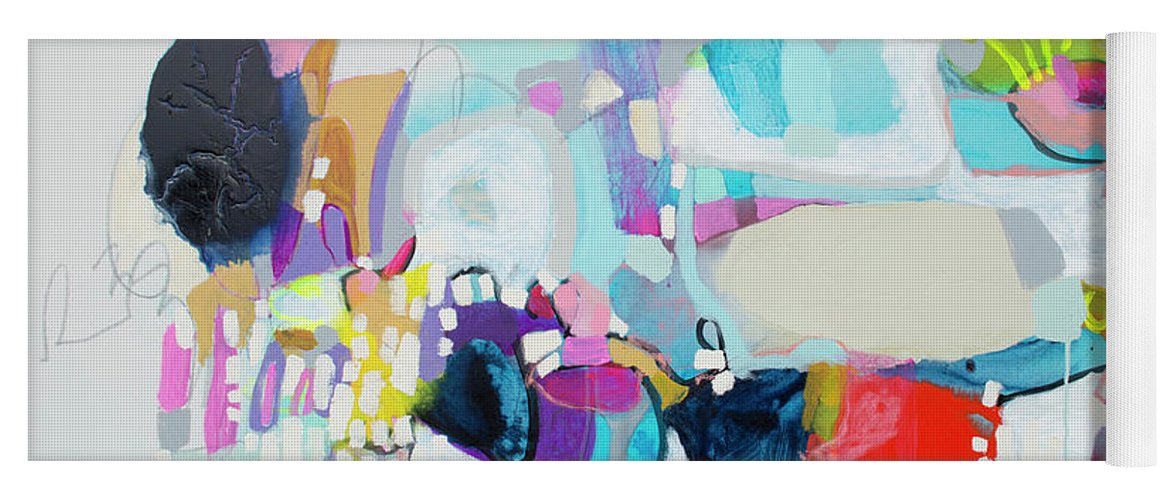 Abstract Yoga Mat featuring the painting Can't Wait by Claire Desjardins