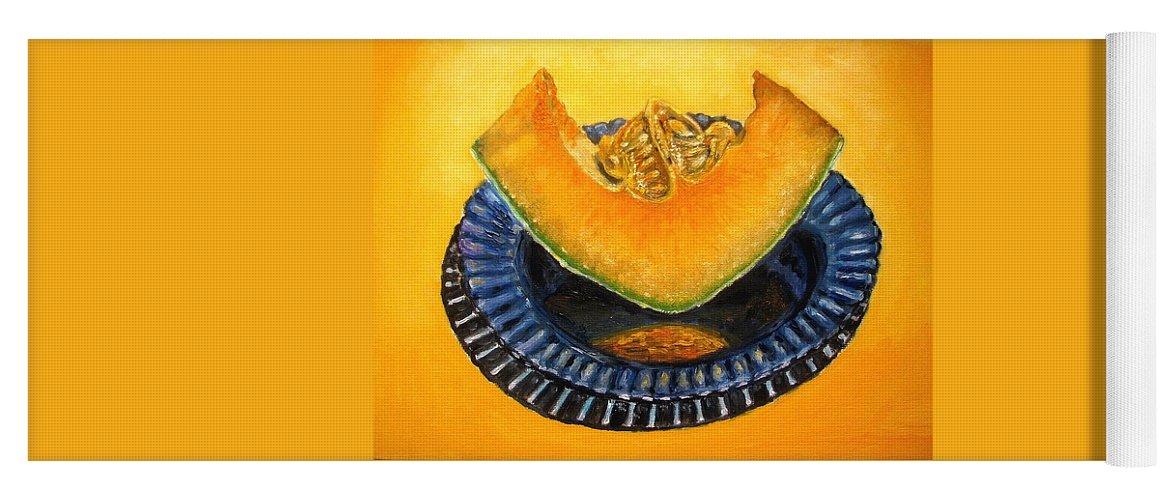 Cantaloupe Yoga Mat featuring the painting Cantaloupe Oil Painting by Natalja Picugina
