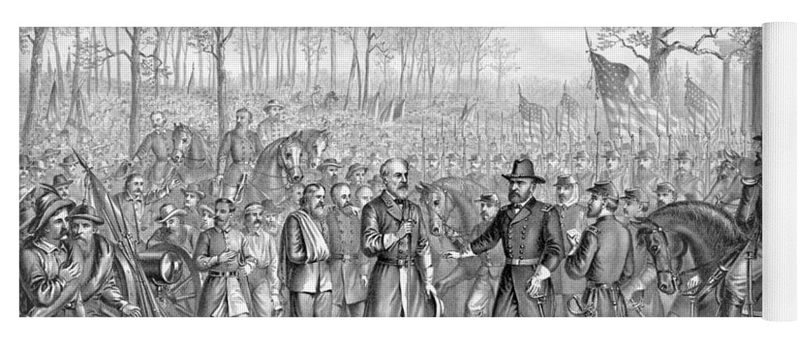 Us Yoga Mat featuring the drawing Capitulation And Surrender Of Robert E Lee by American School