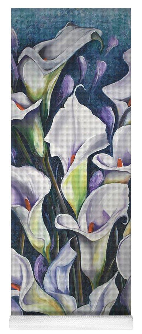 Caribbean Yoga Mat featuring the painting Caribbean Callas by Karin Dawn Kelshall- Best
