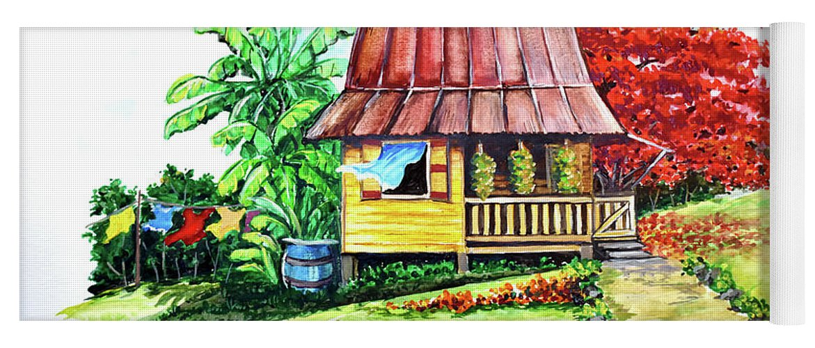 Old House Yoga Mat featuring the painting Caribbean House On The Hill by Karin Dawn Kelshall- Best