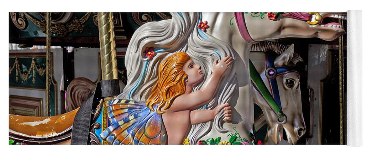Carousel Yoga Mat featuring the photograph Carousel Horse And Angel by Garry Gay