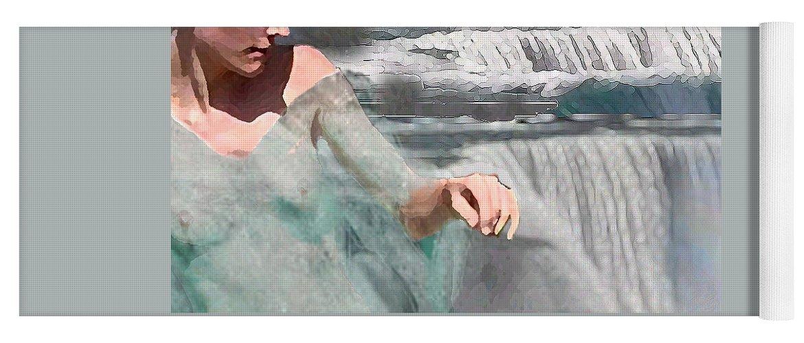 Waterscape Yoga Mat featuring the digital art Cascade by Steve Karol